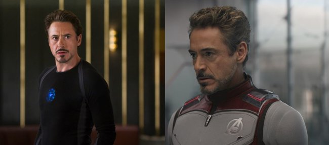 AVENGERS THEN AND NOW: Iron Man in MARVEL THE AVENGERS und AVENGERS: ENDGAME.